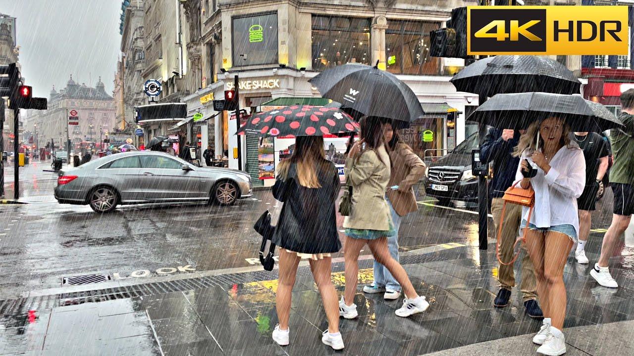 Heavy Rain in Central-June 2021🌧 London Rain Walk🌧 ASMR Relaxing Rain [4K HDR]